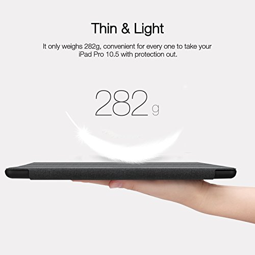 iVAPO iPad Pro 10.5 Case Pencil Holder Auto Sleep Wake Function Typing Viewing Tri-fold Stand PU Leather Smart Cover for iPad Pro 10.5 inch 2017 Black Denim Leather by iVAPO (Image #8)
