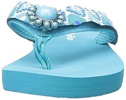 Lindsay Phillips Women\'s Lulu Flat Sandal, Scuba Blue, 7 M US