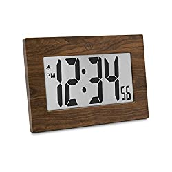 Marathon CL030064WD 9 Large Digital Frame Clock 3.25 Digits - Batteries Included (Wood Tone)