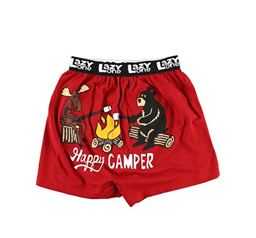 Happy Camper Soft Comical Boxers for Men by LazyOne | Animal Pun Joke Underwear for Guys (XX-Large) by Lazy One
