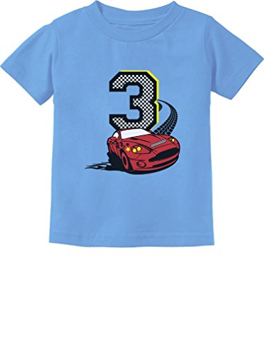 3rd Birthday 3 Year Old Boy Race Car Party Toddler Kids T-Shirt 3T California Blue