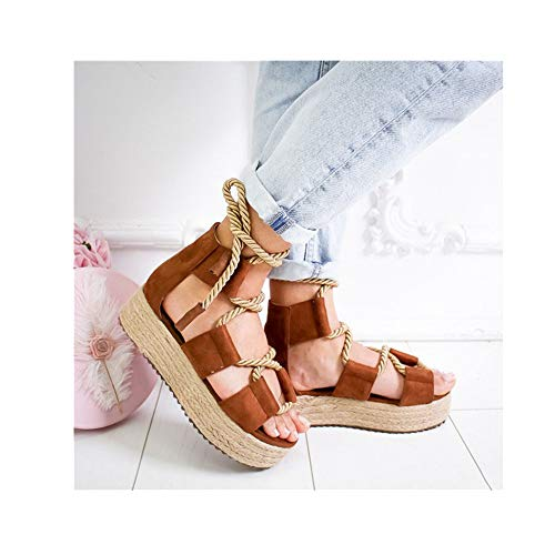 LXLDH Women Sandals 7CM Heel Pointed Fish Mouth Sandals Platform Sandals(H,40)