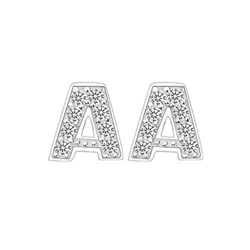 EVER-FAITH-925-Sterling-Silver-Pave-Cubic-Zirconia-Fashion-Initial-Alphabet-Letter-Stud-Earrings-Clear