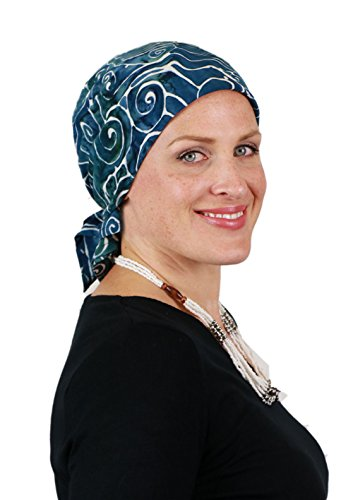Bali Batik Head Scarf Chemo Scarves for Women Cancer Headwear Square Head Wrap (Teal Temple)