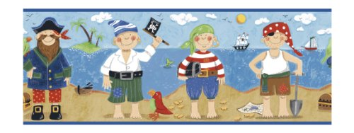 York Wallcoverings BG1730BDSMP Border Portfolio Pirates 8-Inch x 10-Inch Wallpaper Border Memo Sample, Blue/Brown/Red