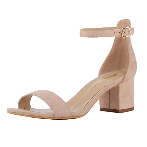 Women's Strappy Chunky Block Low Heeled Sandals 2 Inch Open Toe Ankle Strap High Heel Dress Sandals Daily Work Party Shoes Velvet Nude Size 8.5