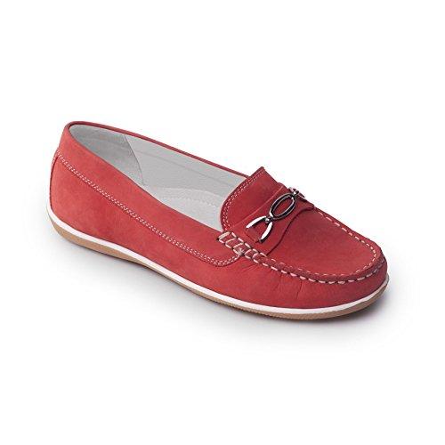 Padders cuero de las mujeres del zapato mocasín 'Brighton' | zapato mocasín se deslice | Anchura de E | talón de 30mm| Cuerno de zapato libre Rojo Nubuck