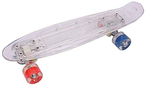 Mini-Board / Cruiser / Retro Skateboard mit LED Beleuchtung Abec 7 weiß