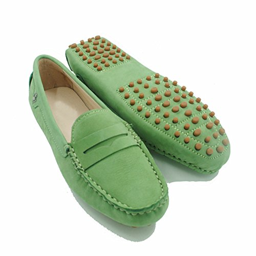 Casual Driving Flats Minitoo Green Ladies Slip Leather On Leather Penny Loafers Algae Girls WZwqO