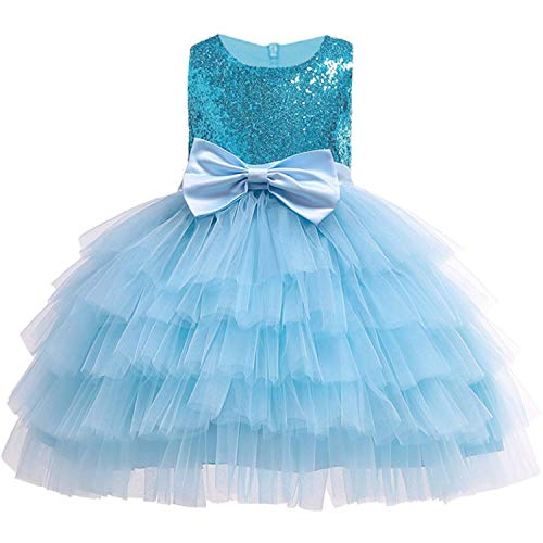 Baby Girls Golden Thread Embroidery Elegant Party Dress for Girls Wedding Dress Kids Dresses for Toddler Girls Christmas Clothes,Blue1,6]()