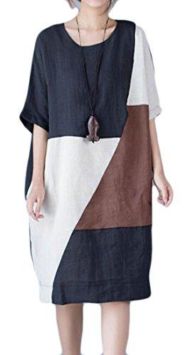 Allentato Misura Donne Tasche Caffè Dimensioni Midi Mezzo Vestito Più Splice Manicotto Con Cromoncent qr0w0OxzPX
