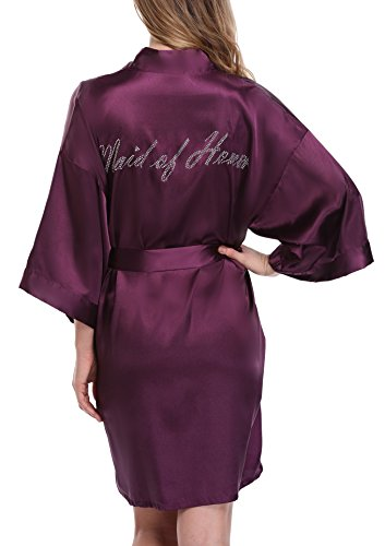 Women's Short Kimono Robe Wedding Robe Dressing Gown for Maid of Honor, Purple, S]()