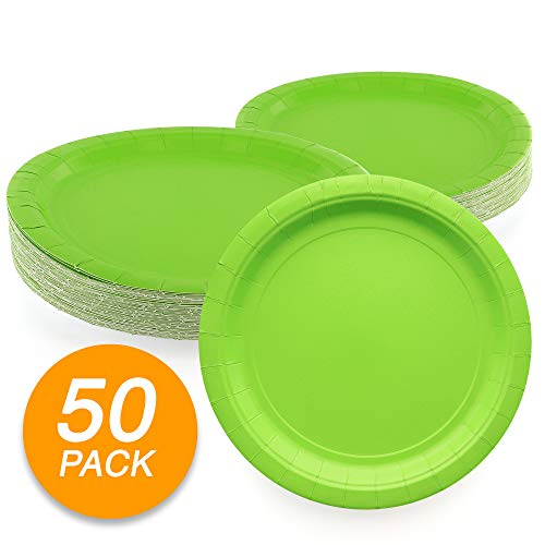 """Amcrate Kiwi Green Disposable Paper Party Plates 9"""" - Ideal for Weddings, Party"""