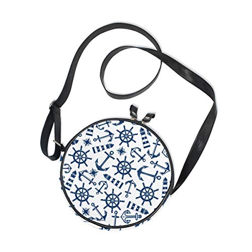 Bag Items Satchel Crossbody with Purse Handbag Round Bag Shoulder Bag Pattern Shoulder Marine Blue Sling Kids for COOSUN Women Nautical 6xqwnXaSa4