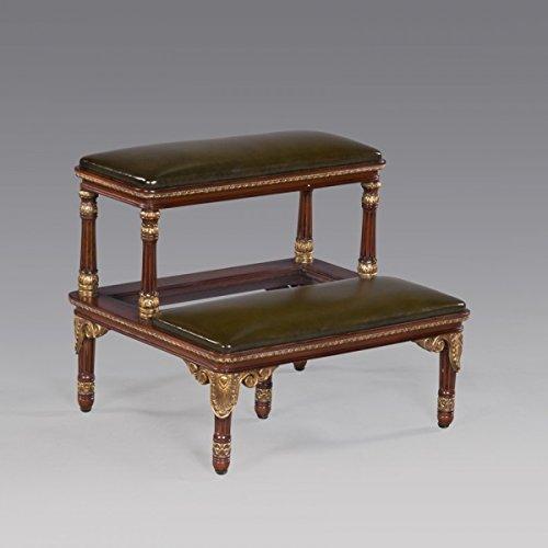 Regency Style Carved Mahogany Bed Steps w. Green Leather Model #JI-33882L-EM-GRN-GG ~ NEW by Jansen