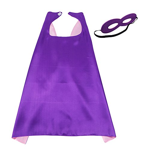 iROLEWIN 70cm Super Hero Stain Capes with Mask for Girls and Boys Party,Purple-Pink]()