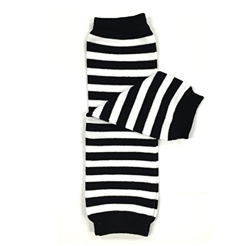 Bowbear Baby Stripes and Chevron Leg Warmers, Black and White S