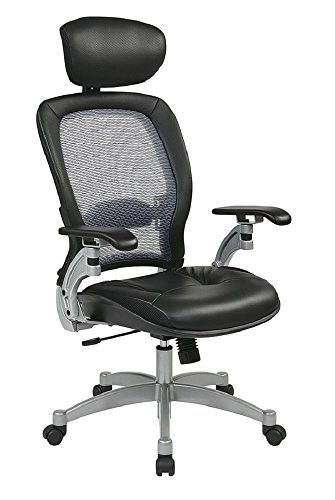 (SPACE Seating Light AirGrid Back and Leather Seat, 2-to-1 Synchro Tilt Control, Adjustable Lumbar and Platinum Finish Base Executives Chair with Adjustable Headrest,)