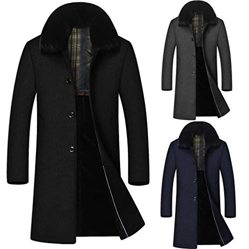YKARITIANNA Men 2019 New Spring Long Fit Winter Casual Long Hair Collar Cashmere Woollen Cotton Windbreaker Coat
