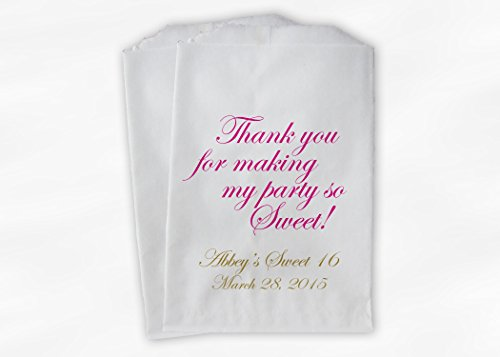 Sweet 16 Birthday Favor Bags for Girl's Birthday Party in Hot Pink and Gold- Set of 25 Paper Treat Bags (Sweet 16 Candy Buffet)