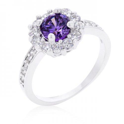 Icon Bijoux R08347R-C20-06 Purple Halo Engagement Ring (Size: 06) from Icon Bijoux