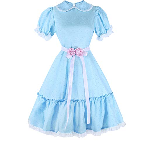 Adult Twin Daughter Cosplay Costume Blue Dress Halloween Custom Made (L, Item B) -