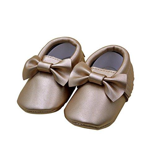 """AISI Infant bebé de las niñas Mocassins suave suela antideslizante borlas Prewalker zapatos de bebé con lazo dorado dorado Talla:12-18 Months/Inseam length 5.12"""""""
