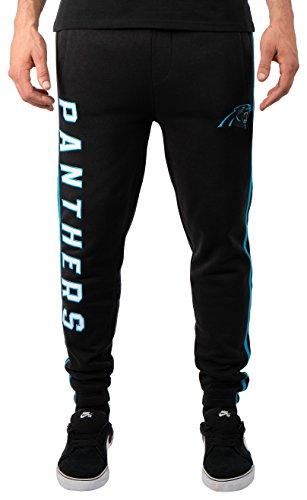 NFL Carolina Panthers Men's Jogger Pants Varsity Stripe Fleece Sweatpants, Medium, Black
