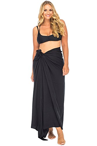 Back From Bali Womens Plus Size Sarong Swimsuit Cover up Solid Beach Wear Bikini Wrap Skirt with Coconut Clip Black