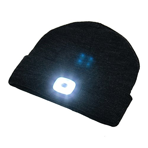 BEAMie Hat With Built In Rechargeable LED Head Lights, Great for Walking at Night, Dog Walking, Running, Auto Mechanics, Bikers, Camping
