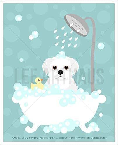 166D - Maltese Dog in Bubble Bath Bathtub UNFRAMED Wall Art Print by Lee ArtHaus