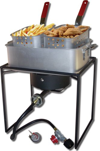 King Kooker 1618 16-Inch Propane Outdoor Cooker with Aluminum Pan and 2 Frying Baskets Rectangular Outdoor Propane Cooker