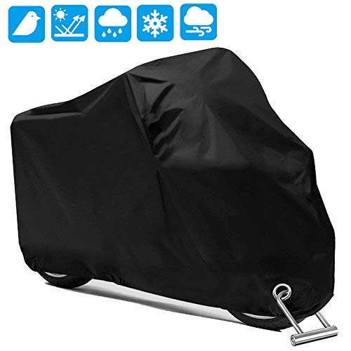 Motorcycle Scooter Cover Waterproof Outdoor - Large Medium XL 250cc 150cc 50cc Scooter Shelter for Harleys All Weather Motorbike Protection with Lock Holes Tear-proof Heavy-Duty ()