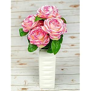 """OOKi-Artificial Fake Flowers 1 Bouquet with 6 Silk 6"""" Big Rose Head Flower Arrangements Wedding Bouquets Decorations Plastic Floral Table Centerpieces Home Kitchen Garden Party Décor (Mauve) 17"""