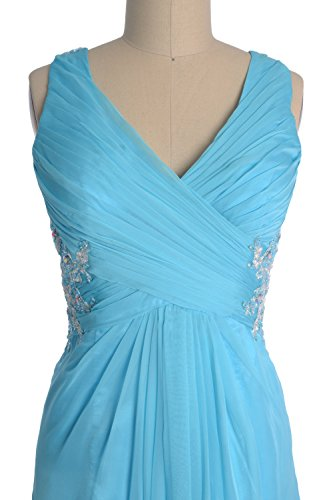 Macloth Long Women Neck Gown Lace Evening V Amarillo Dress Chiffon Party Formal Prom rwrx6CX4