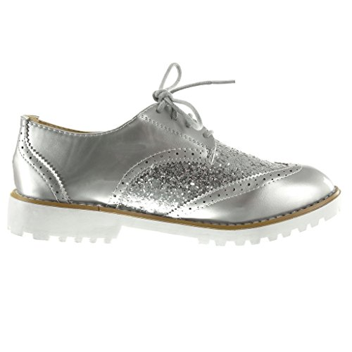 Angkorly - Zapatillas de Moda zapato derby suela de zapatillas mujer brillante perforado Talón Tacón ancho 3 CM - Plata