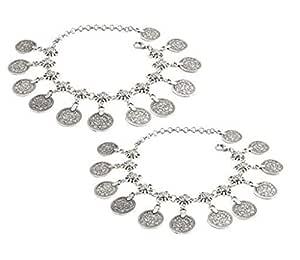 Vintage Boho Chain Anklet Coin Tassels Beach Hawaiian Ankle Bracelet For Women 2pcs