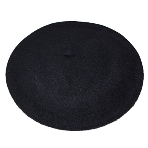JOYHY Women's Solid Color Classic French Style Beret Beanie Hat Black