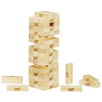 ROYALDEALSHOP 51 Pcs Blocks with 4 Dices Wooden Tumbling Stacking Building Tower Game/Jenga for Kids/Jenga/Jenga Mini Game/Jenga Truth & Dare/