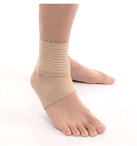 VIEEL 1 Pair Ankle Brace – Elastic Breathable Wrap Compression Knee Elbow Wrist Ankle Hand Support Wrap Sports Bandage Strap with Loop Fastening Strap (1 Pair Beige)