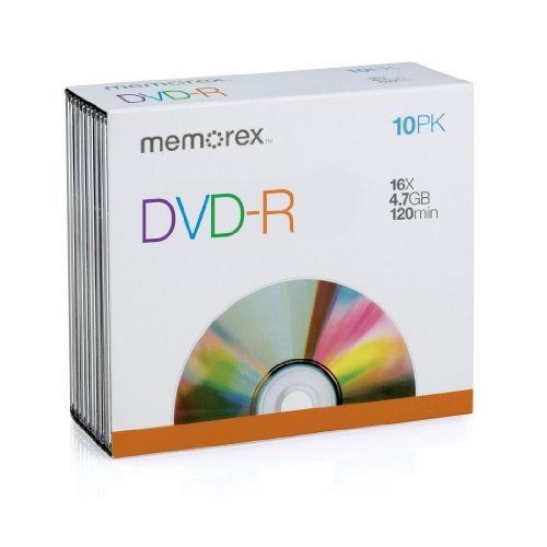 Memorex 4.7Gb/16x DVD-R 10-Pack Slim Case by Memorex