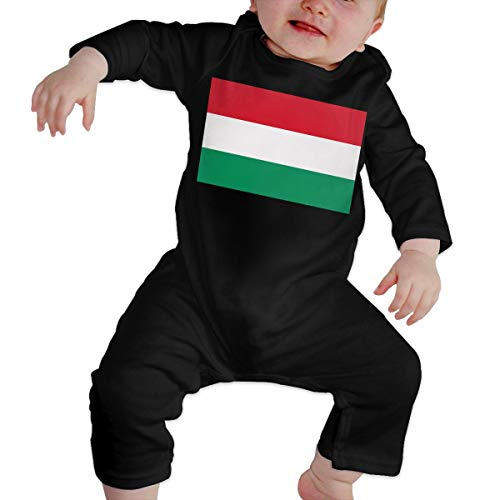 U99oi-9 Long Sleeve Cotton Rompers for Unisex Baby, Soft Hungary Flag Playsuit Black