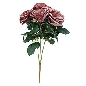 Duovlo 7 Heads Vintage Silk Artificial Flowers Bouquets Plastic Wedding Centerpieces Arrangements Decorations 2