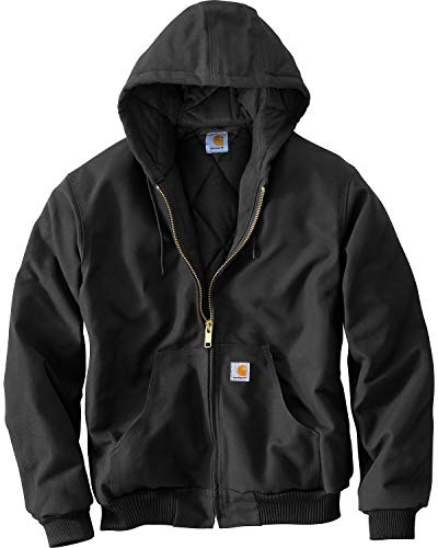 Carhartt Men's Big & Tall Quilted Flannel Lined Duck Active Jacket J140,Black,XXX-Large