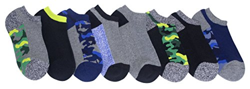 Stride Rite Little Boys' 8-Pack No Show Socks, Camo Athletic/Assorted Colors, 7-8.5 (fits Shoe Size 10-13)