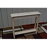 Unfinished 36 Narrow Console Sofa Foyer Beveled Edge Pine Table w/Shelf