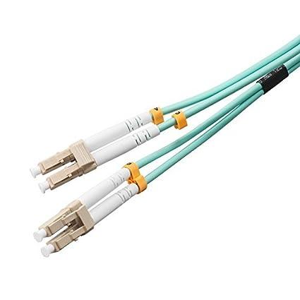 VANDESAIL/® 2 Paquetes 10G Gigabit Cables de Fibra /Óptica con LC a LC Multimodo OM3 D/úplex 50//125 OFNP Azul Cable Patch de Fibra 3m
