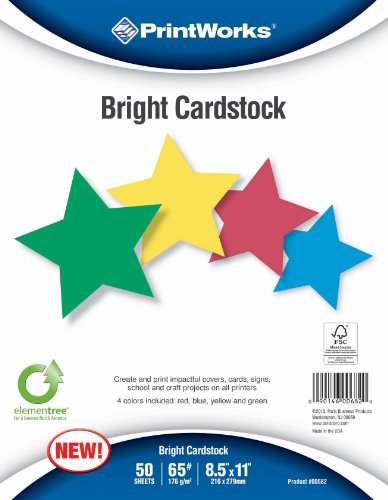 Printworks Bright Cardstock 65 Pound, Vellum, 8.5 x 11 Inches, Assorted Colors, 50 Sheets per Pack