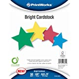 Printworks Bright Cardstock 65 Pound, Vellum, 8.5 X 11-Inch, Assorted Colors, 50 Sheets Per Pack (00682)