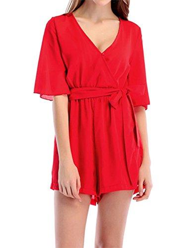 Macchiashine Women's High Waist Short Jumpsuits Solid Color Half Sleeve V-Neck (High Res Colour)